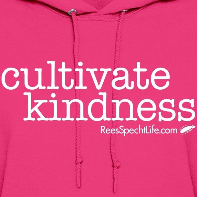 Cultivate Kindness White Logo Women's Hodded Sweatshirt