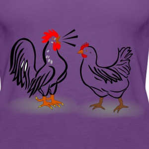 rooster and chicken - Women's Premium Tank Top