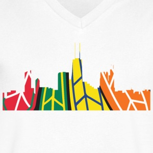 Chicago Hockey Skyline T-Shirts - Men's V-Neck T-Shirt by Canvas