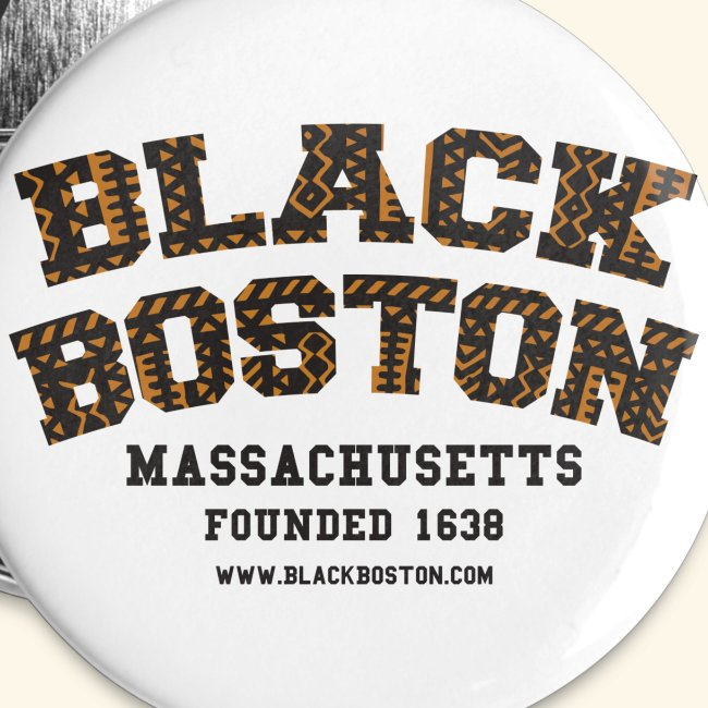 Souvenir Buttons labeled Black Boston Massachusetts