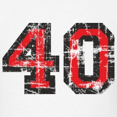 Number 40 Birthday T-Shirt (Men Black/Red) Vintage