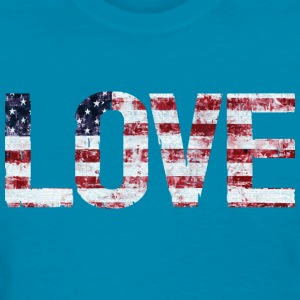 Distressed USA Flag LOVE Women's T-Shirts - Women's T-Shirt