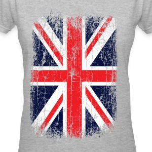 Vintage UK Union Jack Flag Women's T-Shirts - Women's V-Neck T-Shirt