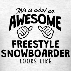 awesome freestyle snowboarder looks like - Men's T-Shirt