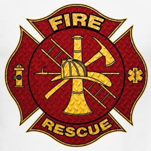 Diamond Plate Steel Firefighter Maltese Cross T-Shirts - Men's Ringer T-Shirt