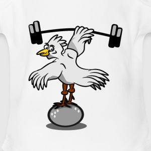 Chicken lifting weights - Short Sleeve Baby Bodysuit