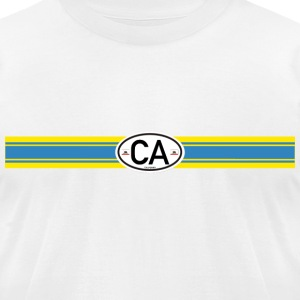blue yellow racing stripe T-Shirts - Men's T-Shirt by American Apparel
