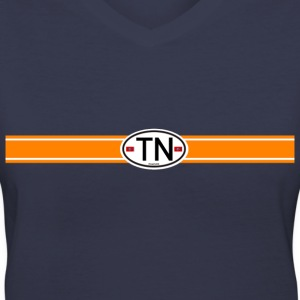 Orange Racing Stripe Women's T-Shirts - Women's V-Neck T-Shirt