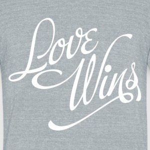 Love Wins by DX, White T-Shirts - Unisex Tri-Blend T-Shirt by American Apparel