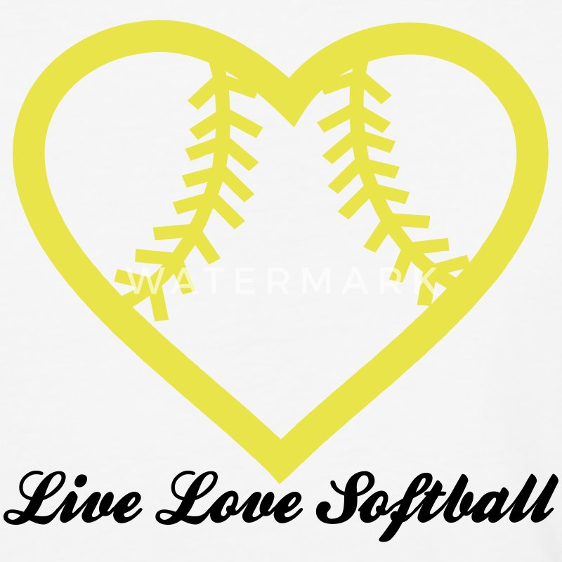 Live Love Softball with Softball heart Design T-Shirts - Baseball T-Shirt