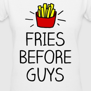 fries before guys color Women's T-Shirts - Women's V-Neck T-Shirt