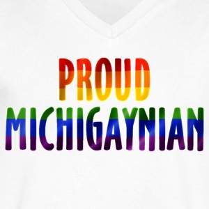 Proud MichiGAYnian Gay Pride Rainbow T-Shirts - Men's V-Neck T-Shirt by Canvas