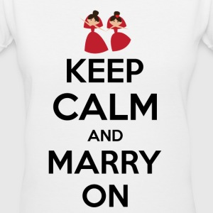 keep calm and marry on Women's T-Shirts - Women's V-Neck T-Shirt