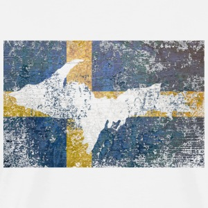 UP U.P. Upper Peninsula Swedish Sweden Flag T-Shirts - Men's Premium T-Shirt