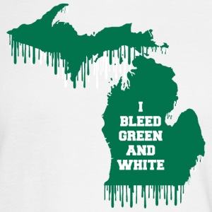 State Bleed Green and White Michigan Long Sleeve Shirts - Men's Long Sleeve T-Shirt