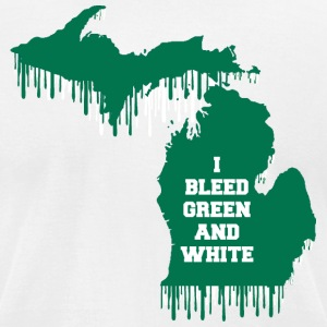 State Bleed Green and White Michigan T-Shirts - Men's T-Shirt by American Apparel