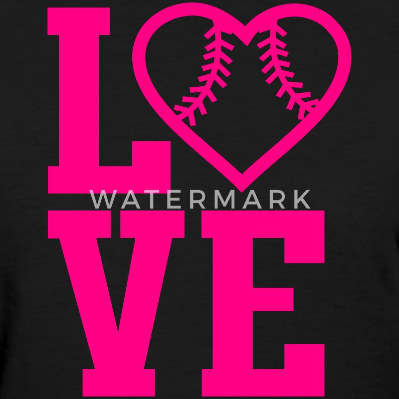 Love Softball Heart Women's T-Shirts - Women's T-Shirt