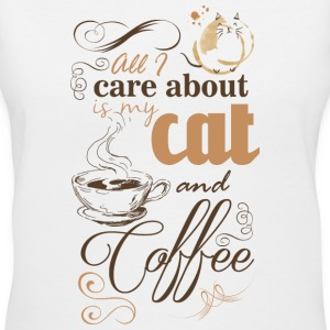 all i care about is coffe and my cat T-shirts - T-shirt avec encolure en V pour femmes