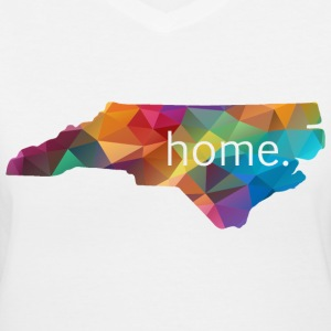 Women's North Carolina HOME Lowpoly Rainbow Shirt - Women's V-Neck T-Shirt