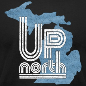 Distressed Michigan Up North Throwback T-Shirts - Men's T-Shirt by American Apparel