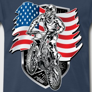 Motocross USA Flag T-Shirts - Men's Premium T-Shirt