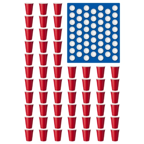 Beer Pong Drinking Game American Flag