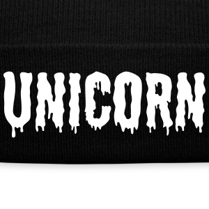 Unicorn Beanie - Knit Cap with Cuff Print