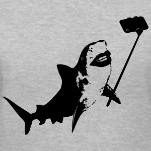 Shark Selfie Stick Women's T-Shirts - Women's V-Neck T-Shirt