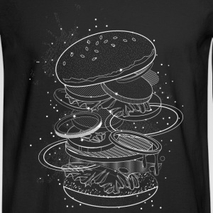 Burger Design made of white contours and stars Long Sleeve Shirts - Men's Long Sleeve T-Shirt