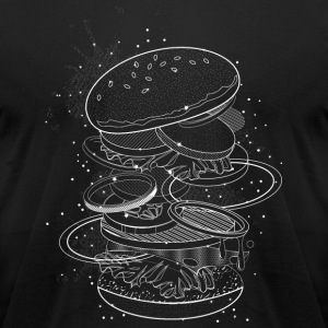 Burger Design made of white contours and stars T-Shirts - Men's T-Shirt by American Apparel