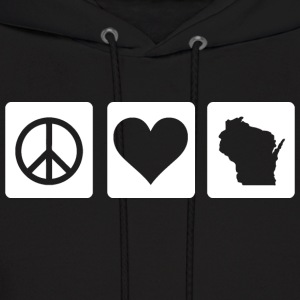 Peace Love Wisconsin Love Hoodies - Men's Hoodie