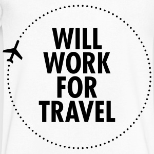 Will Work For Travel T-Shirts - Men's V-Neck T-Shirt by Canvas