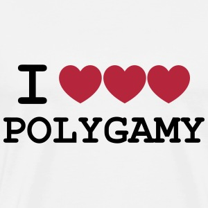 i heart polygamy free love fun sex hippie T-Shirts - Men's Premium T-Shirt