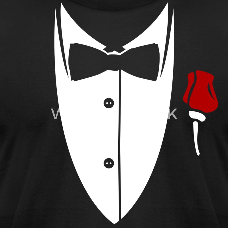 Collar with bow tie and rose from suit Shirt - Men's T-Shirt by American Apparel