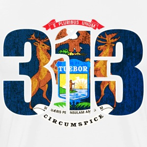 313 Michigan Area Code Detroit Flag T-Shirts - Men's Premium T-Shirt