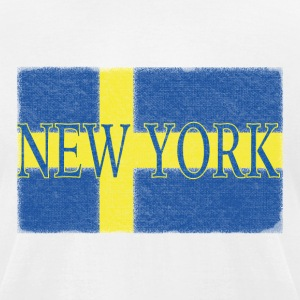 New York Swedish Flag T-Shirts - Men's T-Shirt by American Apparel