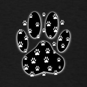 White Paws All Over Black Paw Print - Men's T-Shirt
