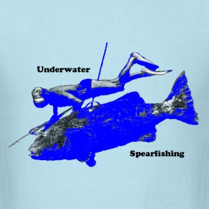 Vintage 1950s Spearfishing Diver with Fish - Men's T-Shirt