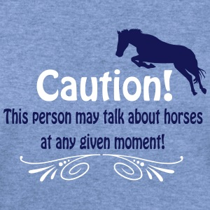 Caution! Talk about horses Long Sleeve Shirts - Women's Wideneck Sweatshirt