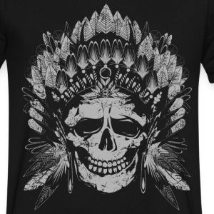 Chief Skull Gray T-Shirts - Men's V-Neck T-Shirt by Canvas