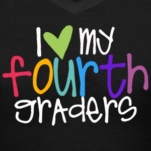 love myfourth graders teacher shirt Women's T-Shirts - Women's V-Neck T-Shirt
