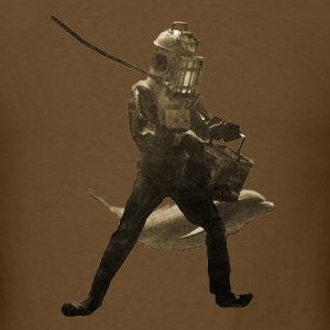 Vintage Diver with Helmet Feeding Dolphins - Men's T-Shirt