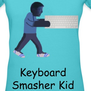 Keyboard Smasher Kid Women's V-Neck T-Shirt - Women's V-Neck T-Shirt