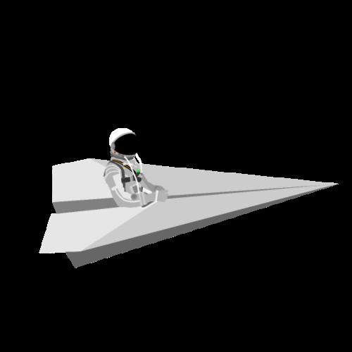 Mercury Astronaut riding a paper airplane