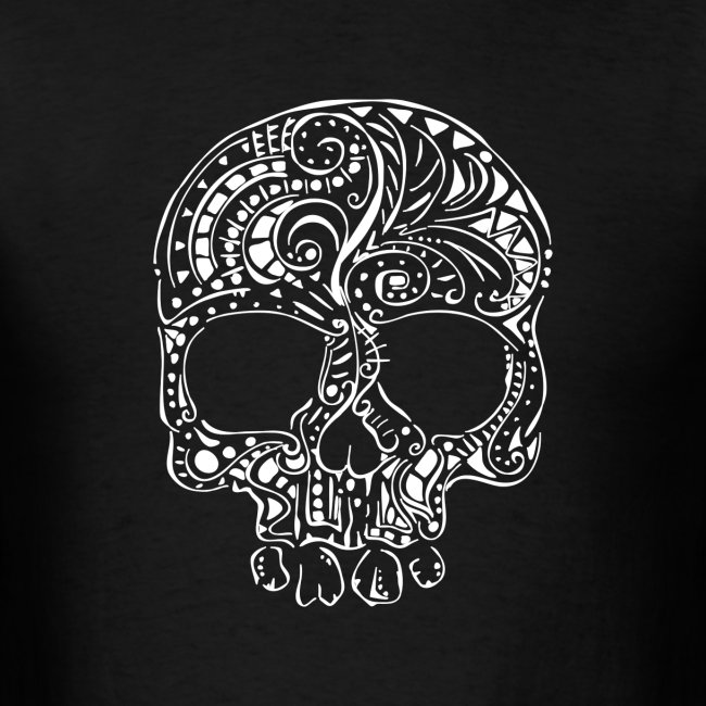 Tribal tattoo style gothic skull Men's T-Shirt
