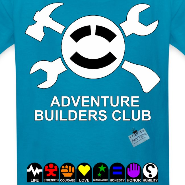(Kids) Adventure Builder Shirt Front and Back.  Increases their stats, too!