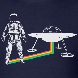 Spaceman with UFO rainbow - Men's T-Shirt
