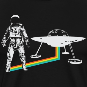 Spaceman with UFO rainbow - Men's Premium T-Shirt