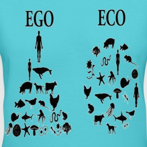 animal rights ego vs eco Women's T-Shirts - Women's V-Neck T-Shirt