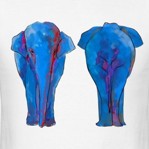 Elephant Facing Front and Back Watercolor - Men's T-Shirt
